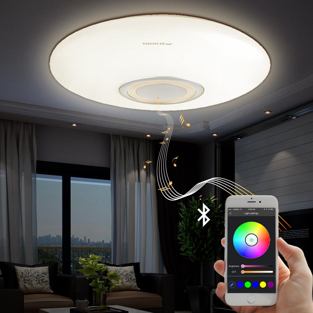 Led Music Ceiling Light with Bluetooth Speaker 25W, Modern Light Fixtures with RGB Color Changing,23inch 80W Home Party Light with Remote Control for Bedroom Living Room Dining Room Wedding(Golden) by BB SPEAKER