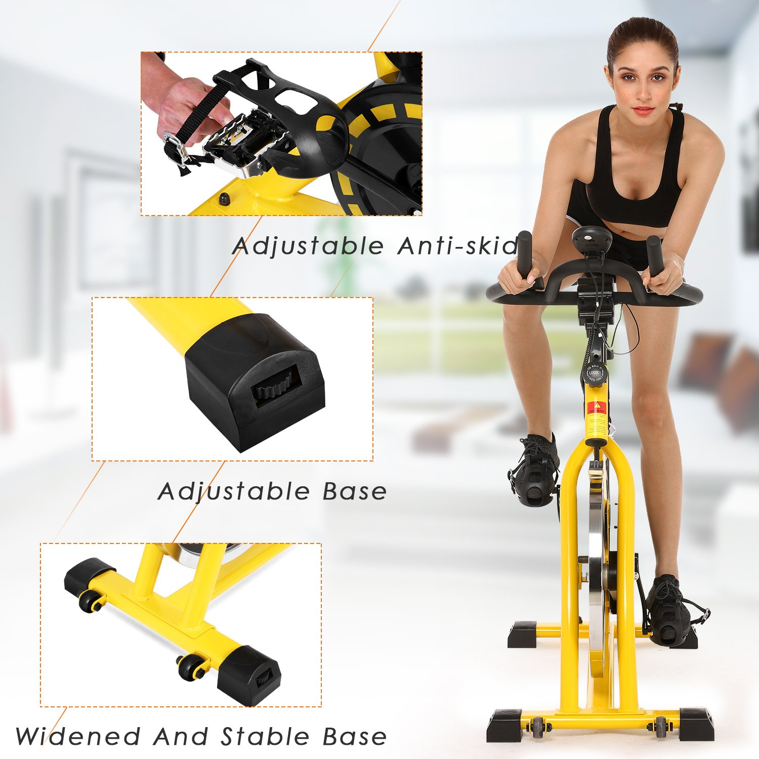 ANCHEER Stationary Bike, 40 LBS Flywheel Belt Drive Indoor Cycling Exercise Bike with Pulse, Elbow Tray (Model: ANCHEER-A5001) (Yellow) by ANCHEER (Image #7)