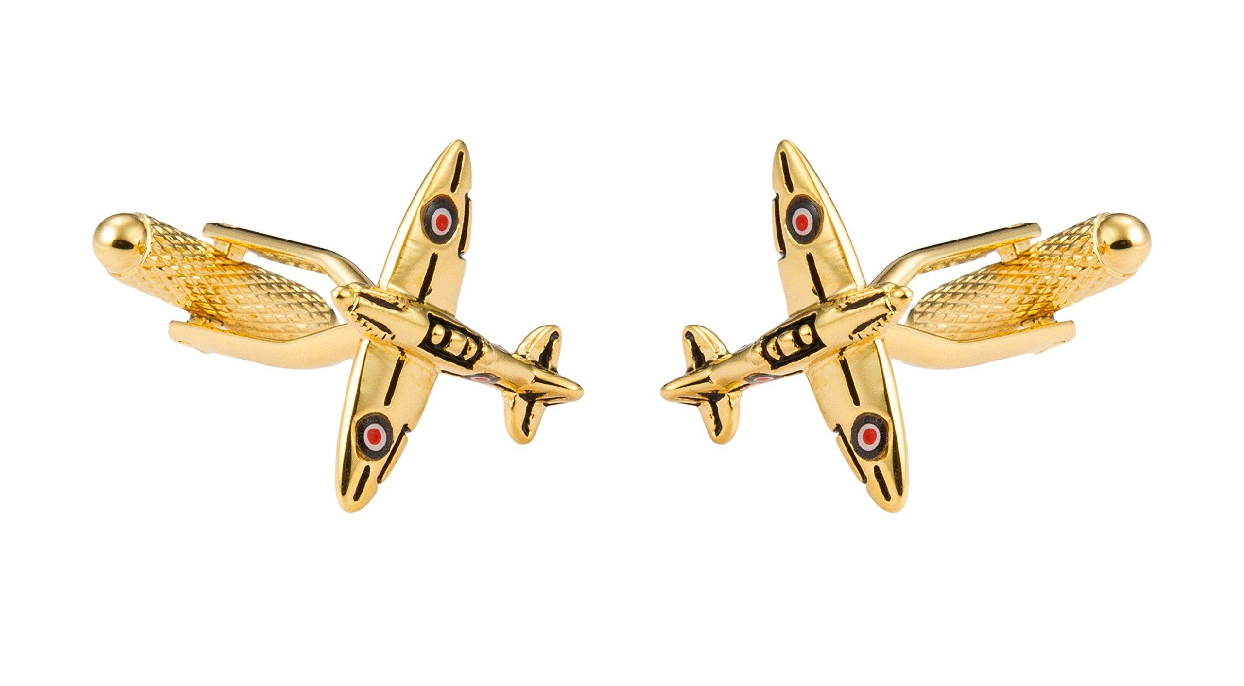 KNIGHTHOOD Men's Golden Airplane Shaped Cufflinks Golden