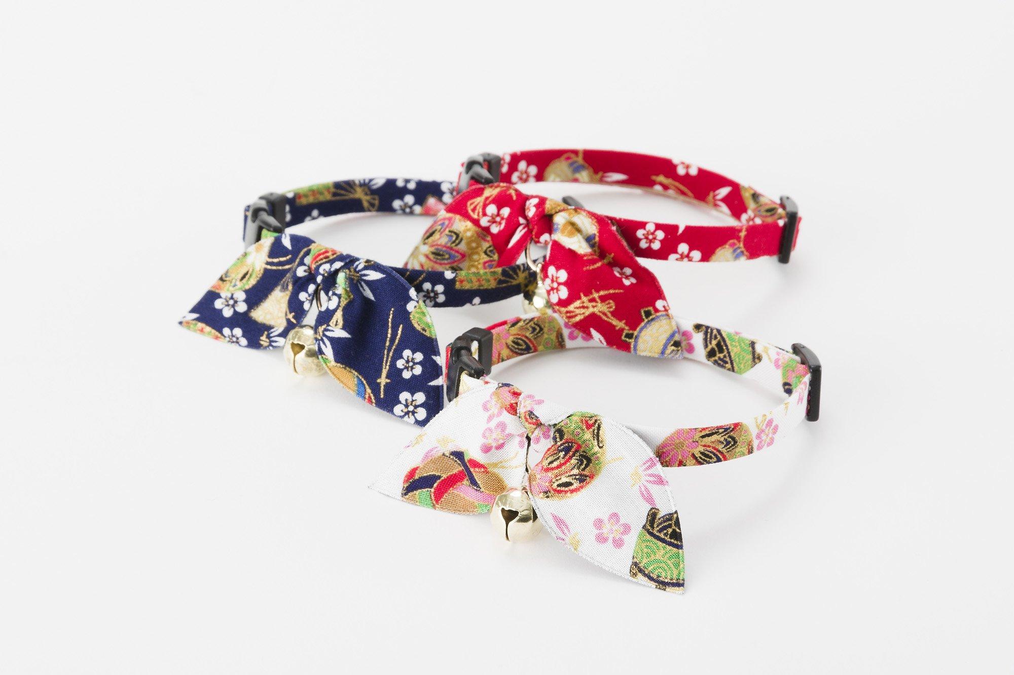 Necoichi Kimono Ribbon Cat Collar (Red)