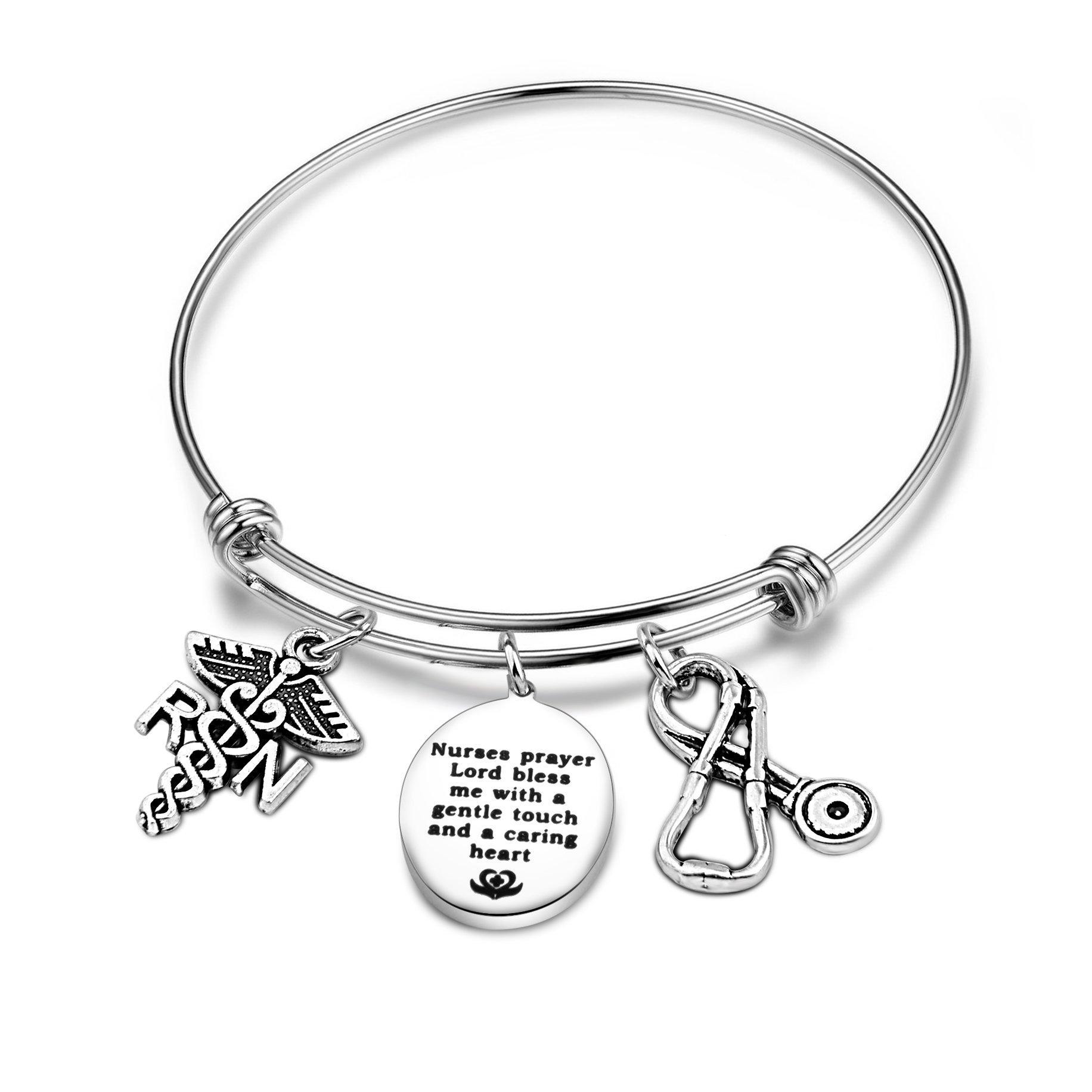 SEIRAA Nurse Prayer Bracelet With RN Stethoscope Caduceus Charms Nurse Prayer Jewelry Gift for Nurse Doctor (Nurse Prayer Bracelet)