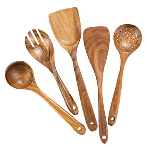 Wooden Cooking Utensils for Kitchen, Organic Wooden Spoons For Cooking Tools for Nonstick Cookware,100% Handmade By Natural Teak Wood Without Any Painting,Set of 5