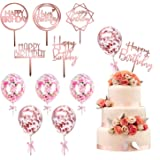 kortes 12 Pack Rose Gold Birthday Cake Topper Set, 6 Pattens Acrylic Cake Topper with 6 Pcs Confetti Balloon Happy…