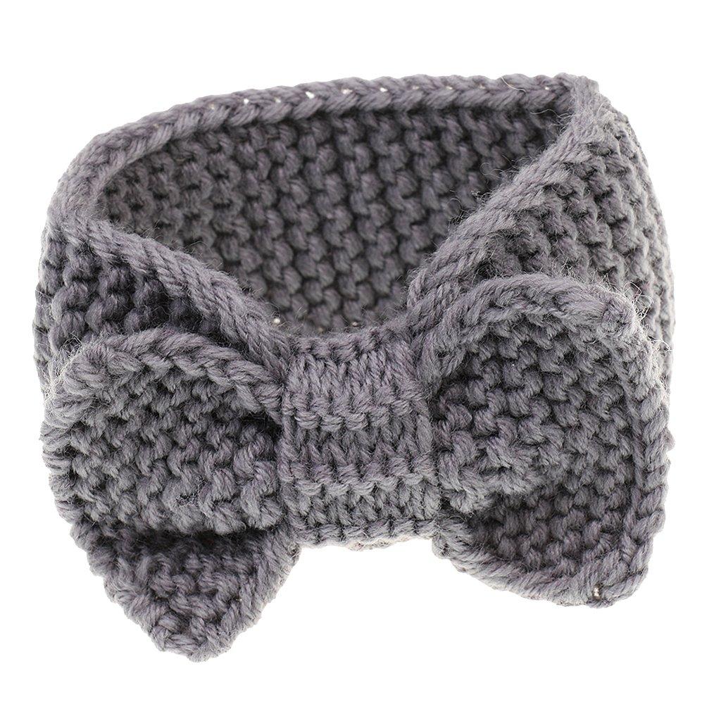 Generic Bambini Neonata Infantile Fiore Elastico Puntello Della Foto Crochet Cerchietti e Fasce per Capelli - Nero