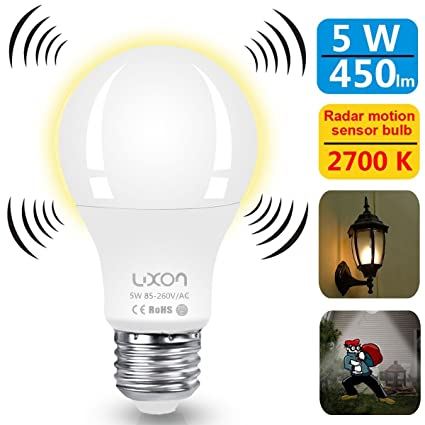 Motion Sensor Light Bulb Dusk To Dawn 5W Radar Motion Detector Light E26  Base A19 Indoor