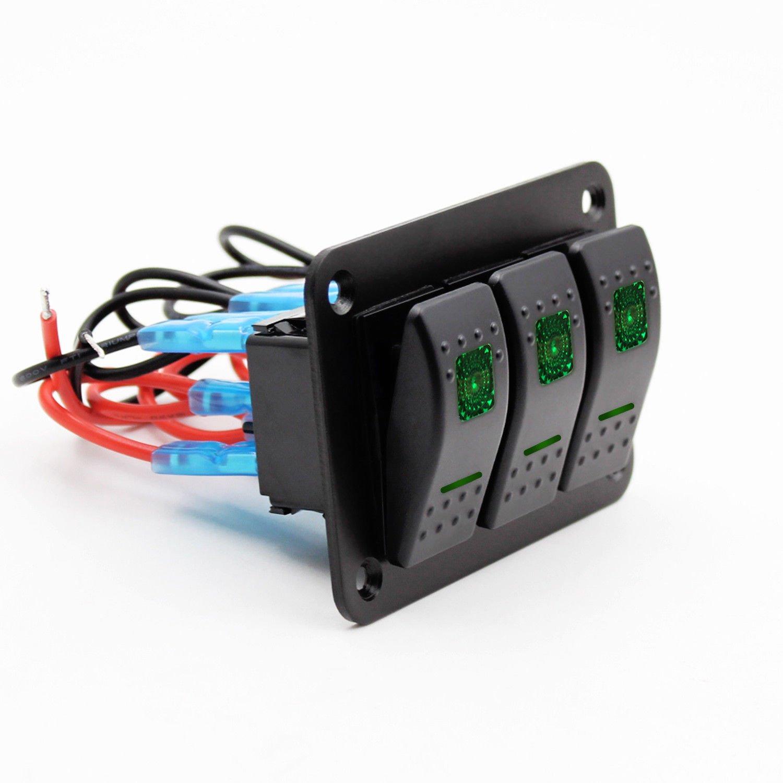 WOVELOT 12V-24V 3 Grupos Panel de Interruptor basculante Palanca Luz LED Verde encendida apagada Coche Barco Marino