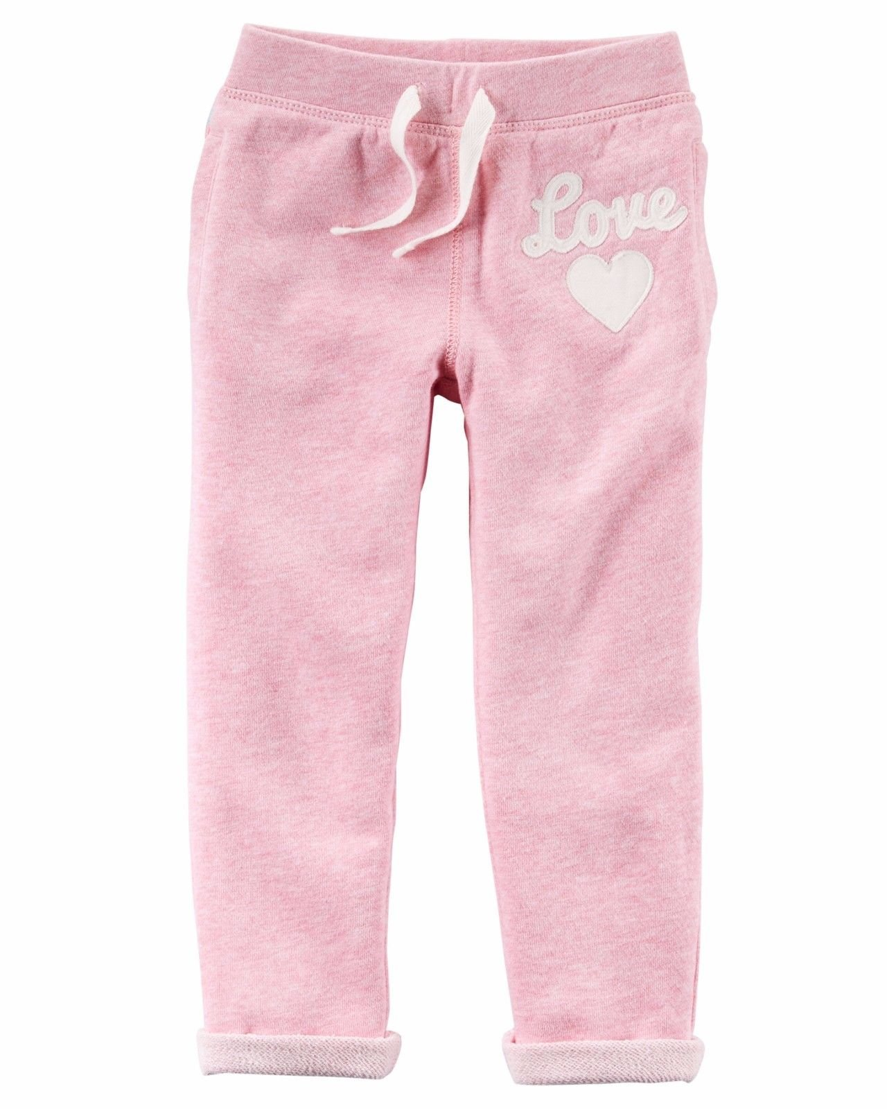 Carter's Girls' Pull-on French Terry Pants (7, Pink/Love) by Carter's (Image #1)