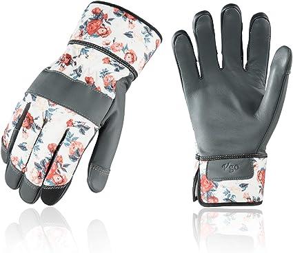 Touchscreen Pruning Gloves Vgo 1 Pair Ladies Premium Goat Leather Gardening Gloves and Work Gloves Size L, Blue, GA7454