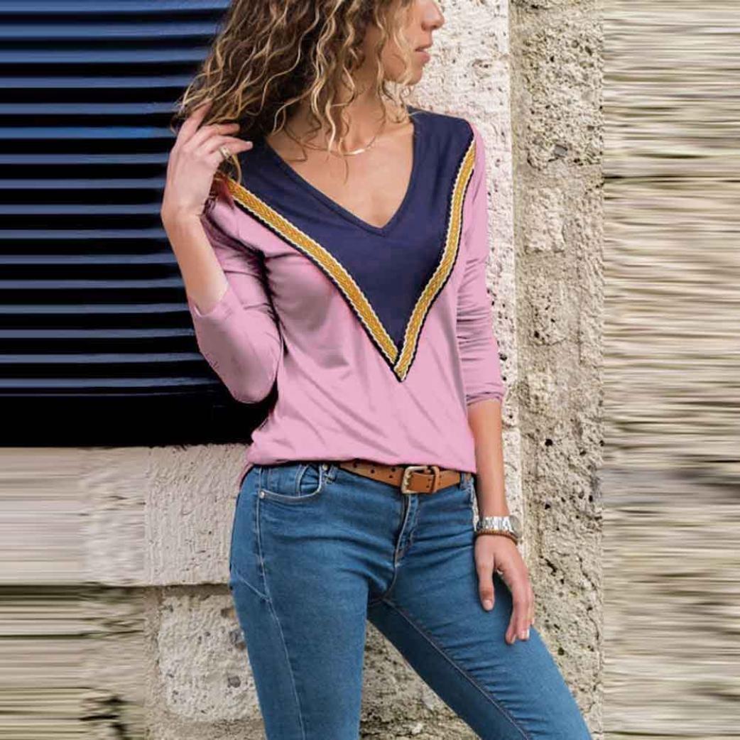 Mujeres con Cuello en V Casual Tops Manga Larga Colorblock Imprimir Camisa Blusa ❤ Manadlian: Amazon.es: Ropa y accesorios