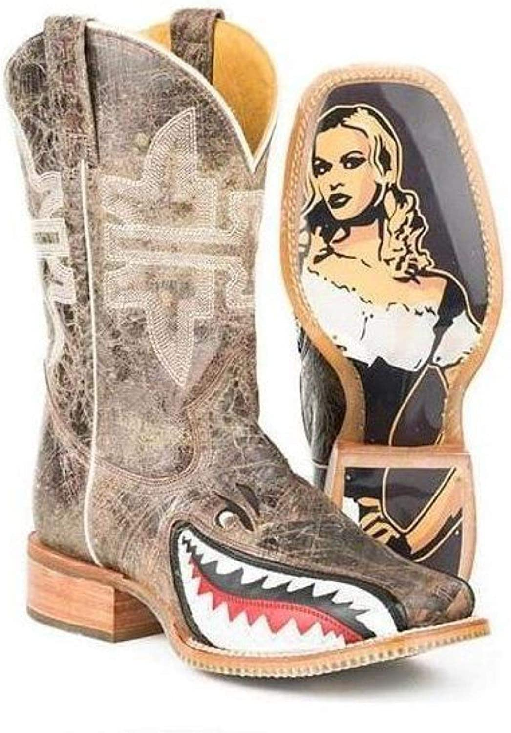 Men's Tin Haul Toastin A Gnarly Shark Boots with Beer Girl Sole