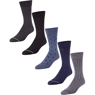 'Nautica Men\'s Moisture Wicking Dress Socks with Stay Up Cuff (5 Pack), Shoe Size 6-12.5, Multi' at Amazon Men's Clothing store
