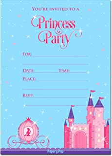 Amazon princess birthday party invitations fill in style 20 princess party invitations with envelopes 15 count kids birthday invitations for girls filmwisefo Image collections