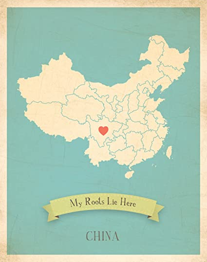Amazon.com: Wall Map, My Roots China Personalized Wall Map 11x14 ...