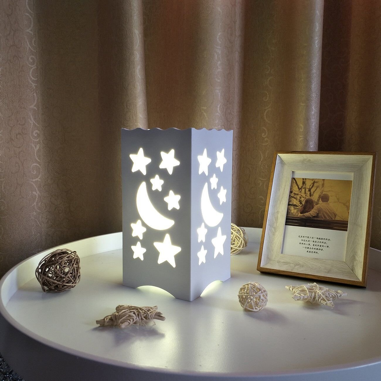 Kids Night Light Table Light White Art Light with Moon and Star Shaped Carving, Desk Lamp Night Light for Nursery,Bedroom(Star) by Dengbaba (Image #5)