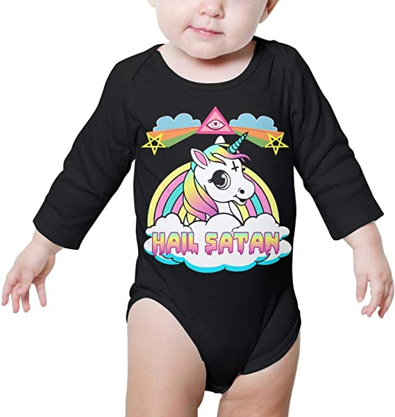 Rainbow Hail Satan Unicorn Cross Baby Boys Girls Long Sleeve Baby Onesie Babys Creeper