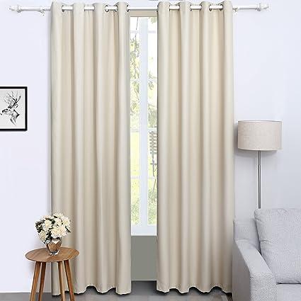 songmics cortinas 2 piezas blackout curtain opaca con ojales 145 x 245 cm beige lrb245e - Cortinas Beige