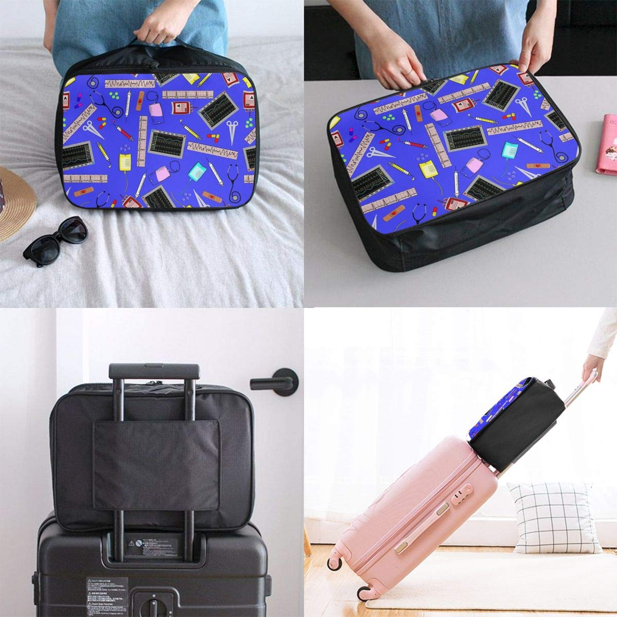 Travel Duffel Bag Waterproof Fashion Lightweight Large Capacity Portable Luggage Bag Hospital Nurse Theme Royal Blue