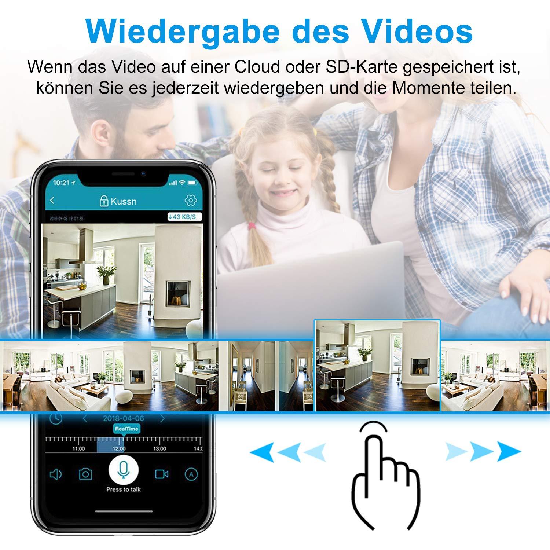 WLAN IP Kamera, bedee WiFi Überwachungskamera 1080P HD Sicherheitskamera mit Bewegungserkennung, Zwei-Wege-Audio WLAN Kamera Indoor Nachtsicht, Haustier/Home/Baby Monitor 355°/110°Schwenkbar Schwarz