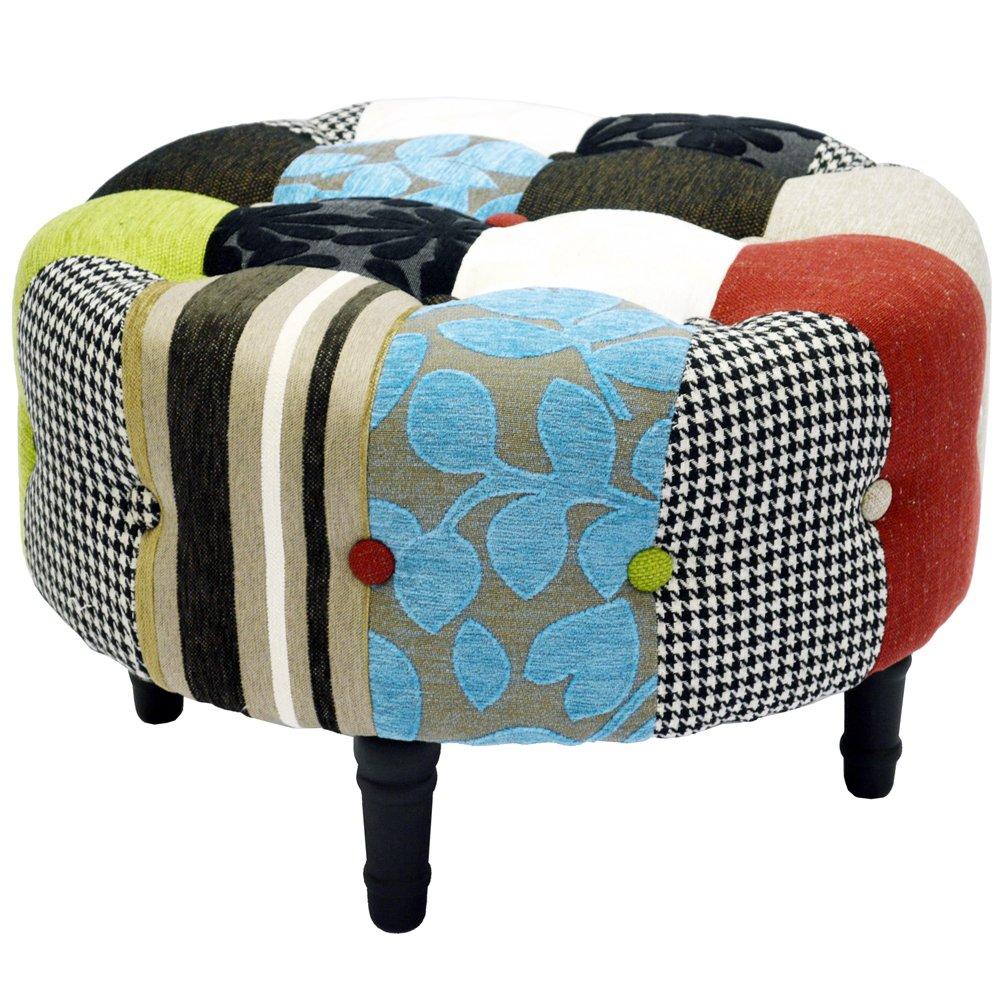 PLUSH PATCHWORK - Pouf tabouret rond - Multicolore