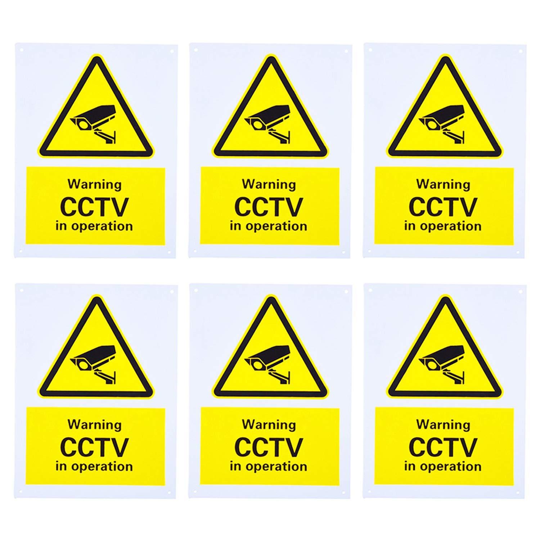c/ámara Se/ñal de Advertencia de CCTV en Funcionamiento con 4 Agujeros preperforados Circuito Cerrado TV 150 mm x 200 mm Trimming Shop Hecha de pl/ástico r/ígido para vigilancia de Seguridad