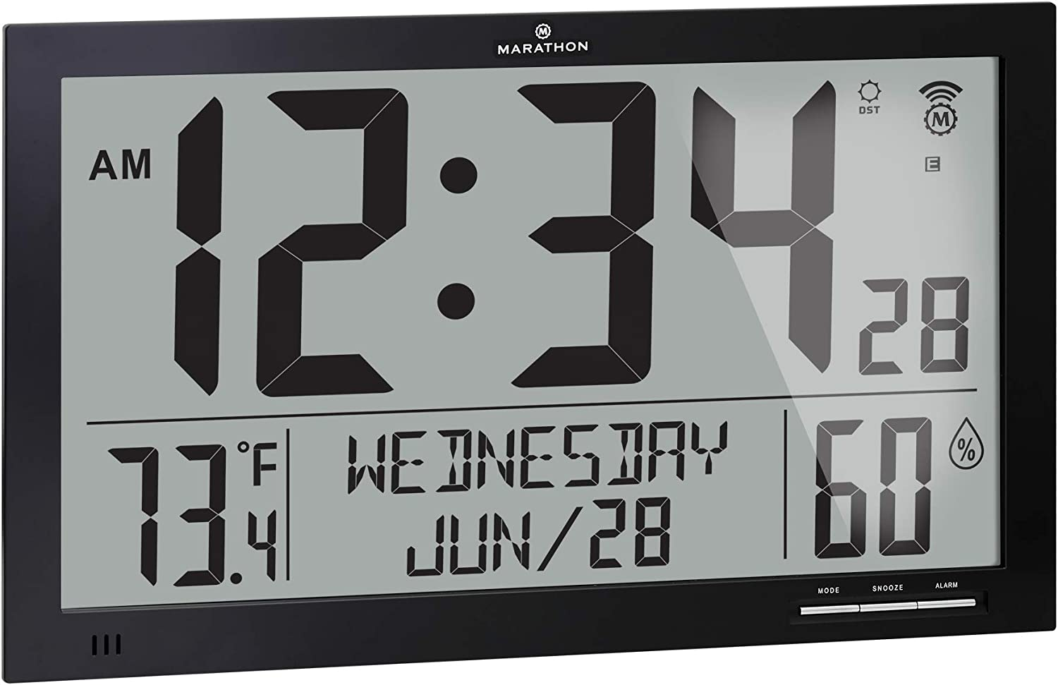 Marathon Slim Jumbo Auto-Set Atomic Full Calendar Digital Wall Clock with Temperature, Humidity, 7 Time Zone, Auto DST, Self Setting, Self Adjusting, Batteries Included (Midnight Black)