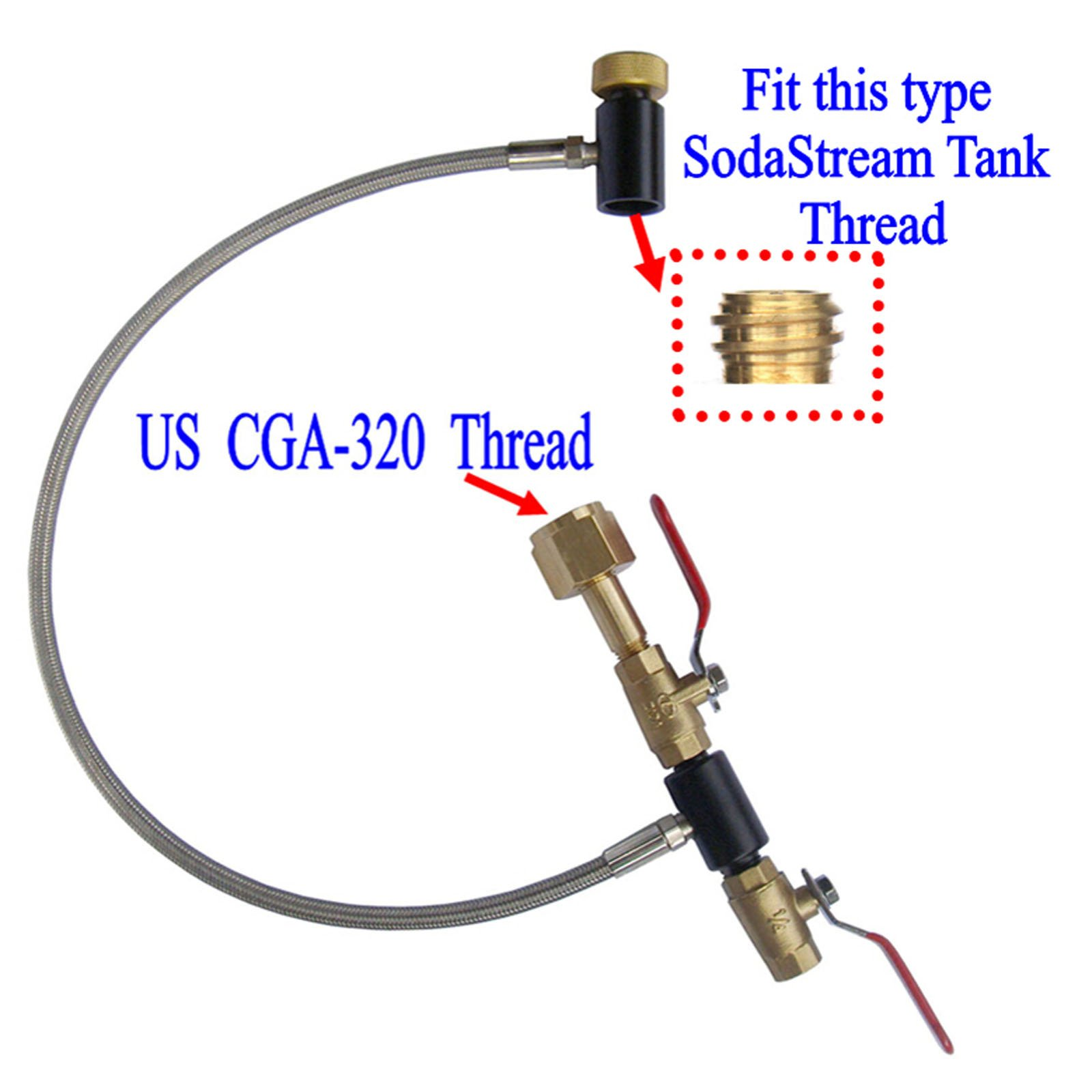New Soda Club High Pressure Hose CO2 Fill Station For Filling Soda Tank (2 valve,24'' Stainless Steel Braided Hose)