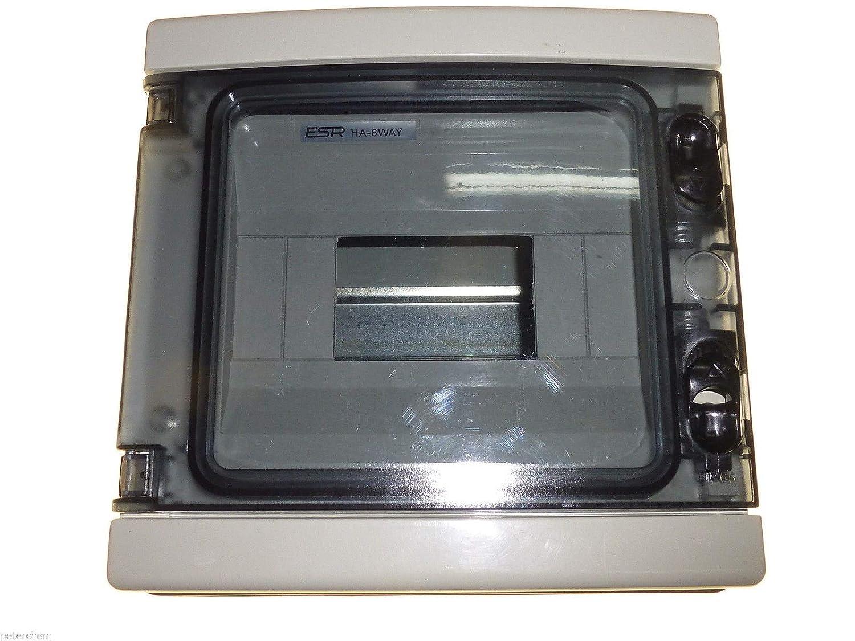 8 m/ódulos Way IP65 DIN Rail caja de cierre con puerta exterior impermeable ideal para la unidad de consumo RCD Contactores temporizadores etc.