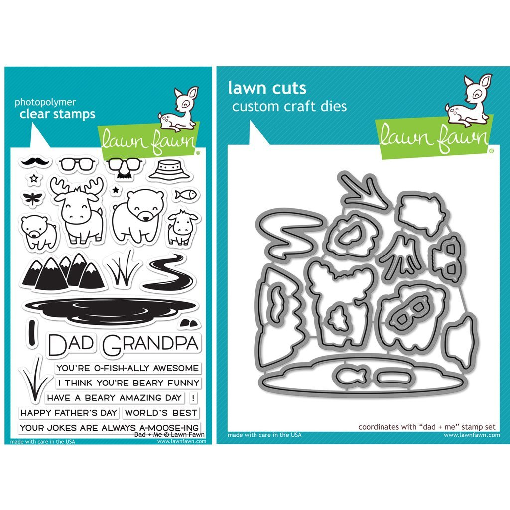 Amazon.com: Lawn Fawn Dad + Me Stamp (LF1163) and Die (LF1164) Set ...