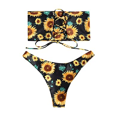 37c01141a6 Amazon.com: OVERMAL Swimwear Women Sexy Sunflower Print Swimsuit Bikini  Bathing Bra Beachwear Suit: Clothing