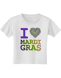 TooLoud I Love Heart Mardi Gras Infant T-Shirt Dark
