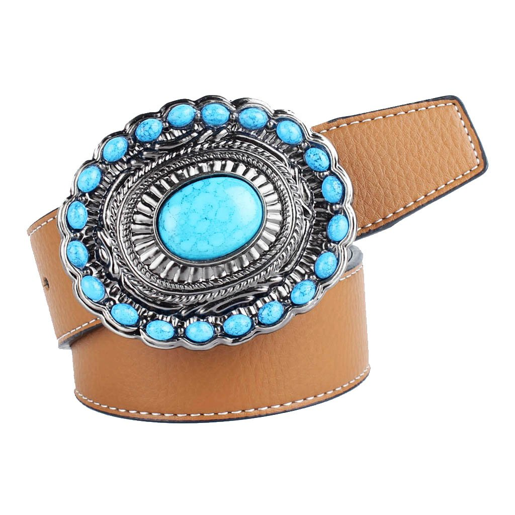 MagiDeal Bohemian Western Cowboy PU Leather Strap Belt Gemstone Buckle Belt