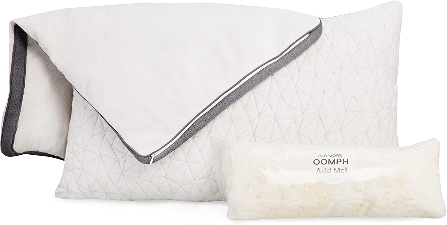 Coop Home Goods - Bundle - 2 Premium Adjustable Loft Pillows and 2 Lulltra Zippered Pillow Protector Covers - Queen Size