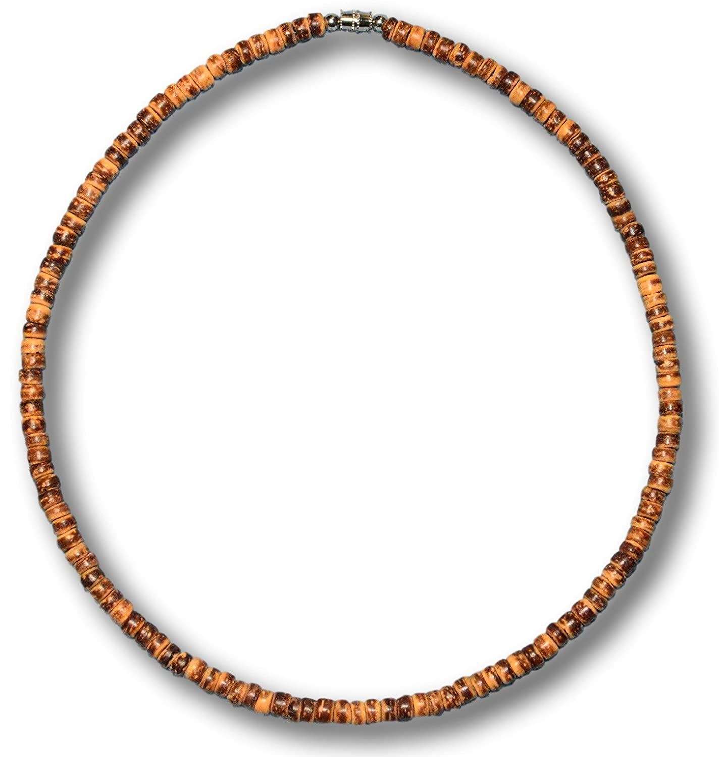 from The Philippines 3//16 Native Treasure Brown Tiger Coco Shell Wood Bead Surfer Necklace 5mm