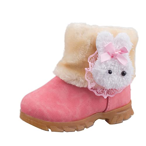 12506a3a4f4 Winter Kid Girl Toddler Warm Rabbit Ankle Snow Boots Faux Suede Fur Lined  Shoes