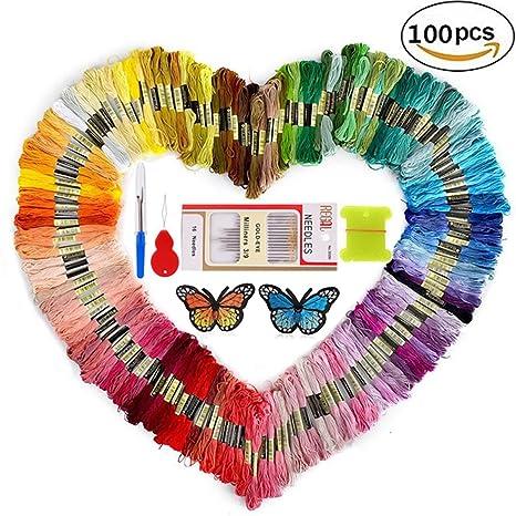 INSANY Madejas de Hilos, 50 Colores Cross Stitch Bordado Hilos Punto de Cruz Línea de