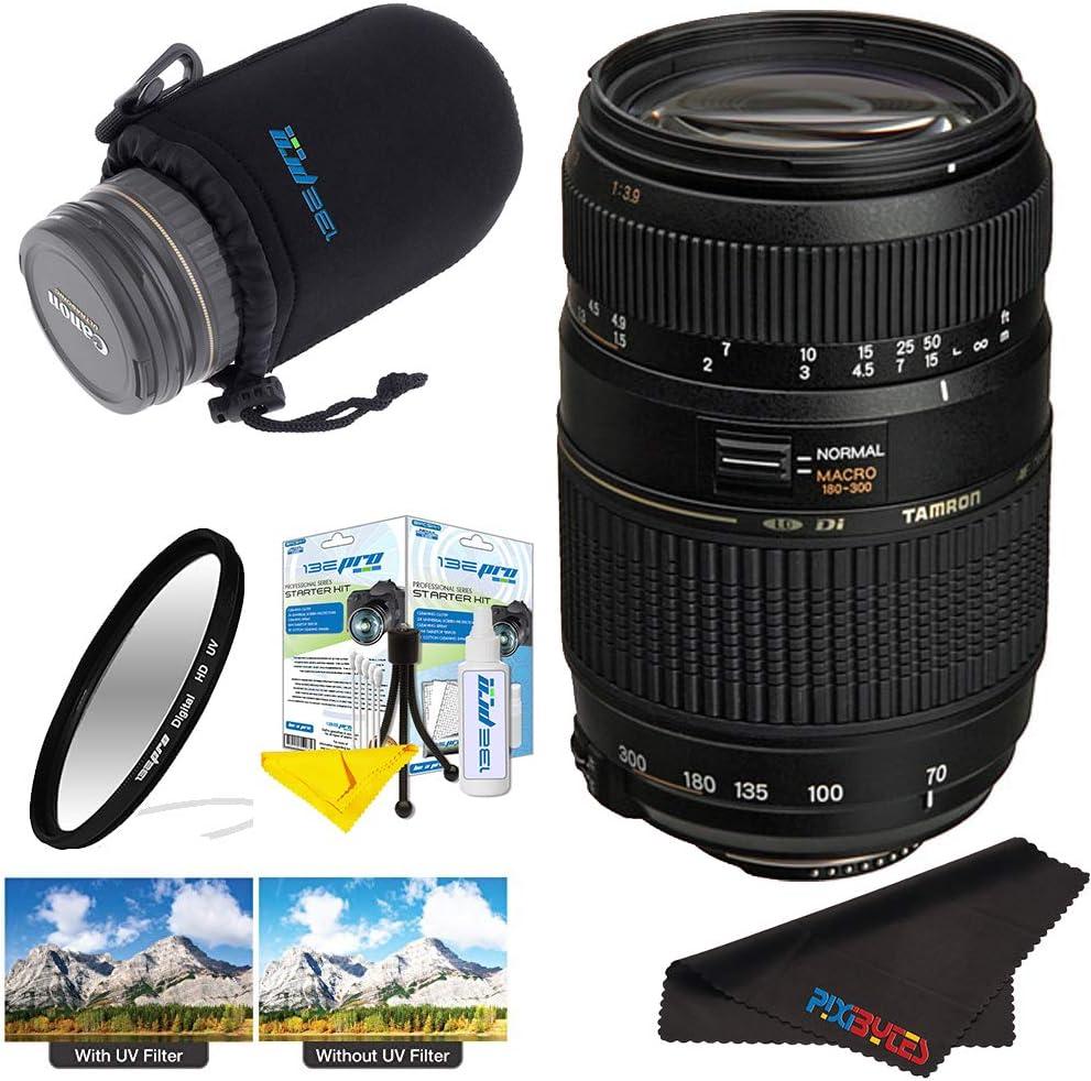 Tamron AF 70-300mm f/4.0-5.6 Di LD Macro Zoom Lens with Built in Motor for Nikon Digital SLR Cameras + Pixi-Basic Accessory Bundle