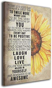 Rustic Sunflower Wall Art Inspirational Quotes Canvas Farmhouse Flower Picture Kitchen decor Giclee Prints Framed Artwork Home Decor For Kitchen Office Bathroom Ready To Hang 12x16 Inch