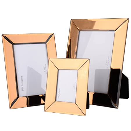 3 Pack Rose Gold Glass Mirrored Picture Frames Includes 3 Different