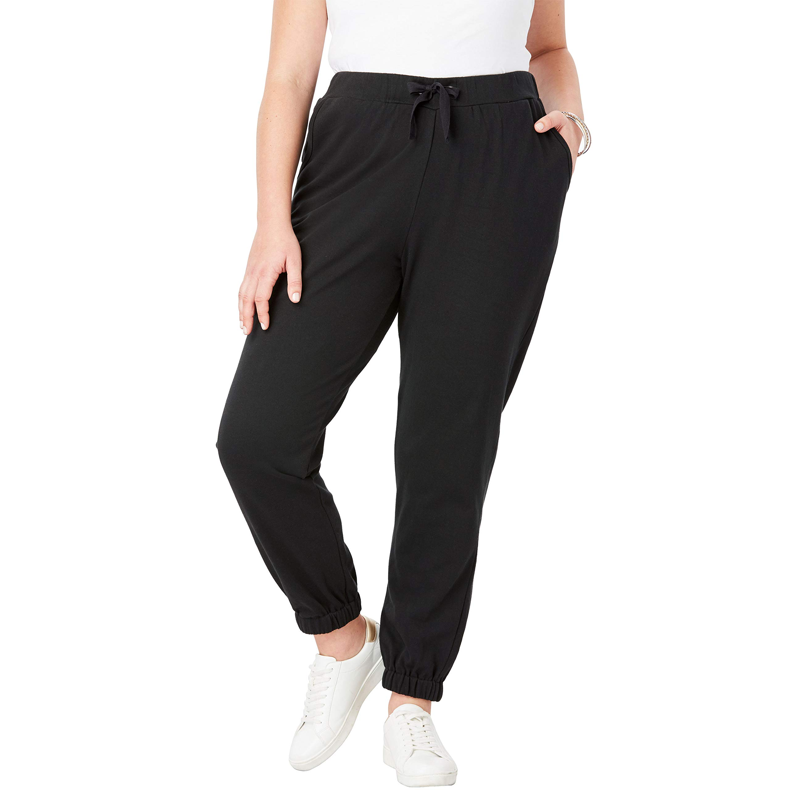 Roamans Women's Plus Size French Terry Jogger - Black, 18/20 by Roamans