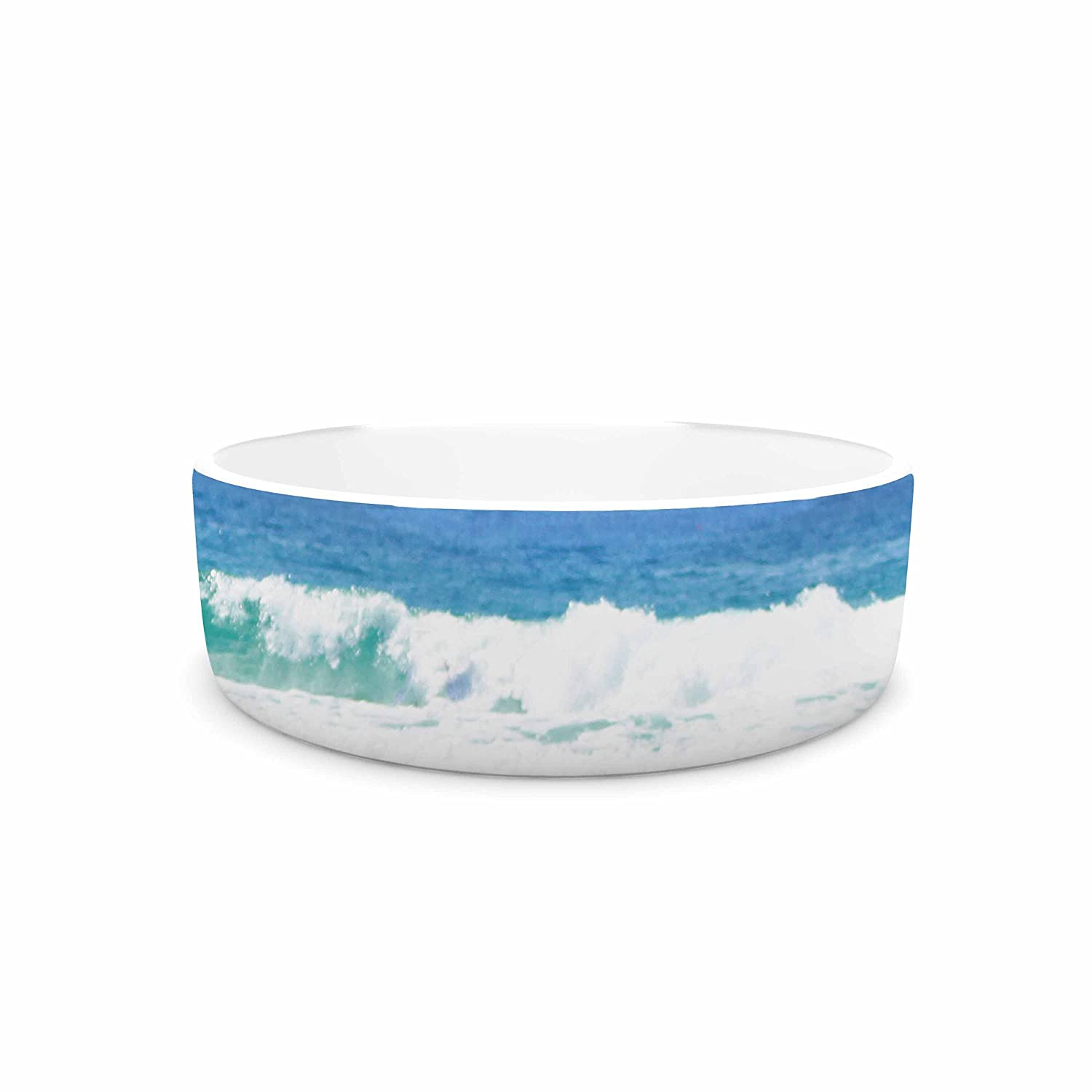 KESS InHouse Sylvia Coomes Life Is Better At The Beach  Tan bluee Pet Bowl, 4.75