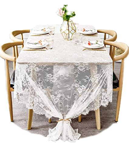 Amazon Boxan 60x120 Inch Gorgeous White Lace Tablecloth Overlay