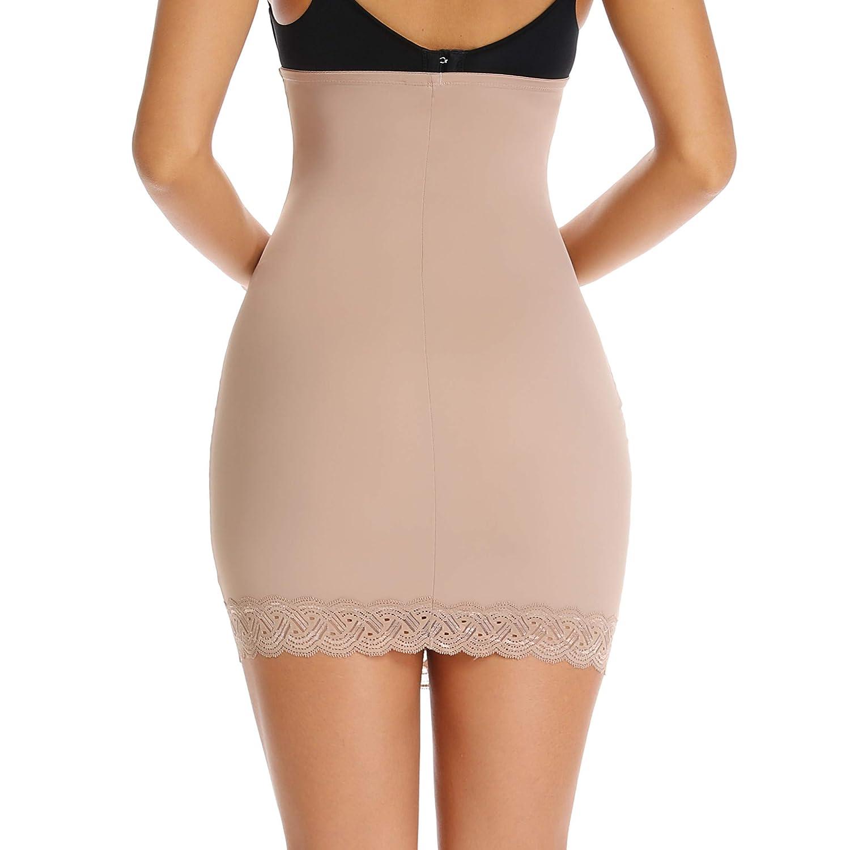 WOWENY Half Slip Shapewear Seamless Slimming Dresses Underskirt Underwear for Women Strapless High Waist Lace Tummy Control Shaping Half Slips for Under Dress
