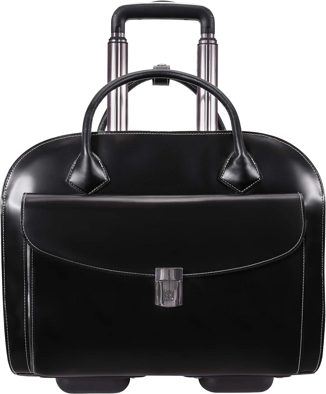 "McKlein Granville, Top Grain Cowhide Leather, 15"" Wheeled Ladies' Laptop Briefcase, Black (96145A)"