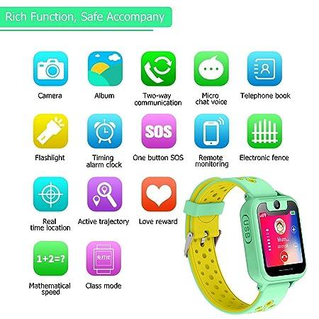 ... ubicación GPS/LBS Reloj Despertador SOS Reloj Digital Cámara Linterna Juegos para niños compatibles con iOS/Android (S6-Green): Amazon.es: Electrónica