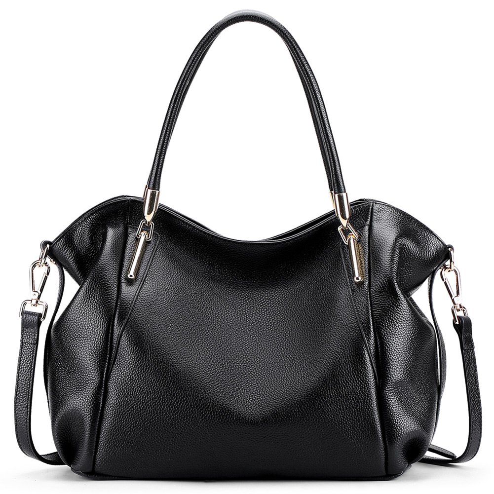 VATAN Women's Genuine Leather Handbags Fashion Leather Shoulder Bags Work Tote Bag (Black)