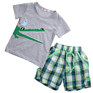 6e0ccd7311b44 Boy Kids Crocodile Print Short Sleeve T-shirt and Lattice Shorts Outfit(2 (