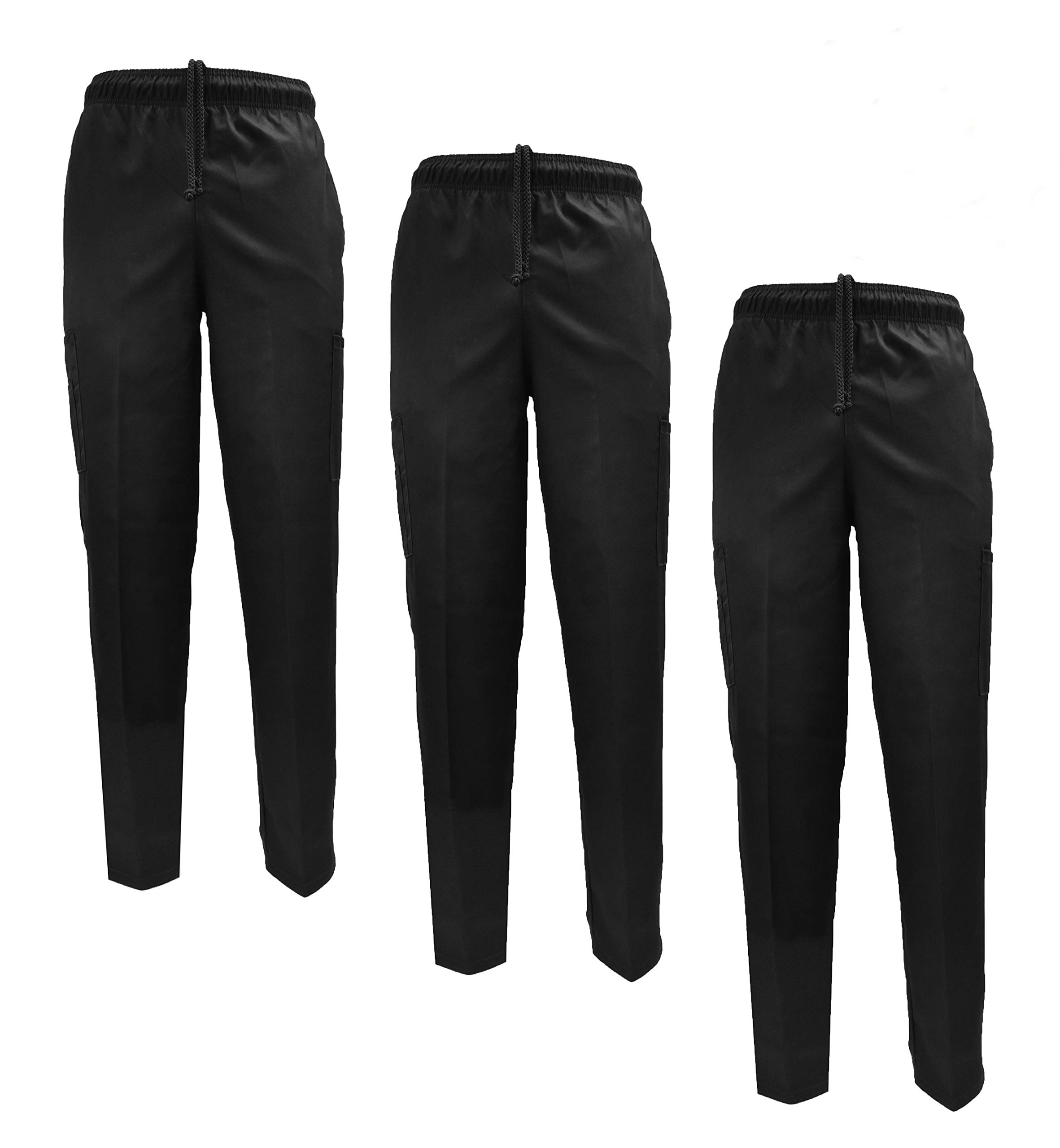 Natural Uniforms Classic Chef Pants (Large, Black Pack of 3) by Natural Uniforms