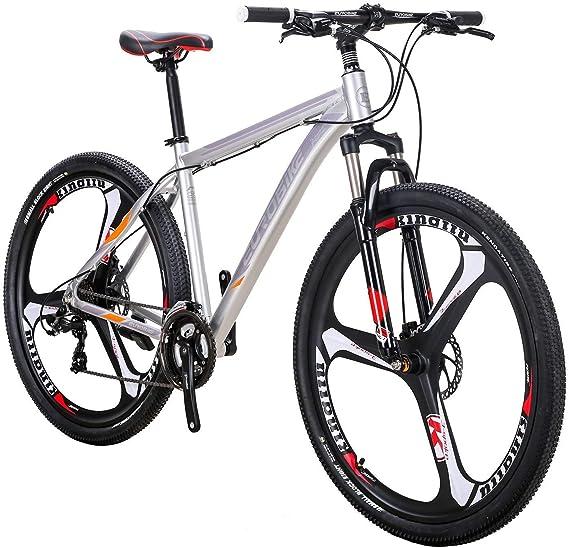 smayer Bicicleta de montaña 21 velocidades 3 radios 29 Pulgadas Ruedas Freno de Disco Dual Marco de Aluminio MTB Bicicleta Urbana Track Bike: Amazon.es: Deportes y aire libre