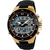 Carrie Hughes Men's Digital Watch 50M Waterproof Large Dual Dial Multifunction Analog Military Outdoor Sports Electronic Watc