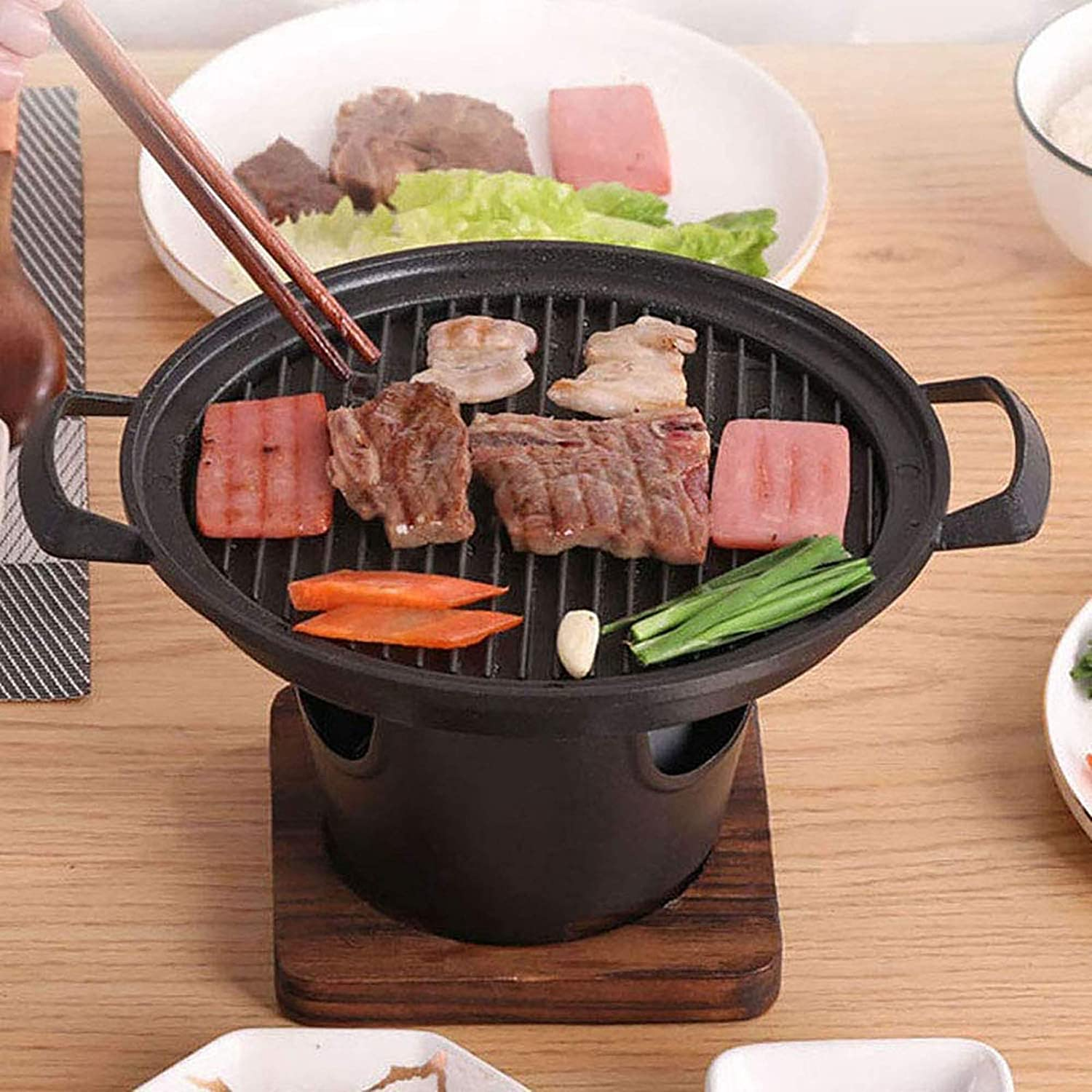 BBQ Alcohol Stove Cast Iron and Aluminum Alloy Mini Grill Single Serving Household Hibachi Grill Roasting Pans with Wooden Base & Fuel Holder